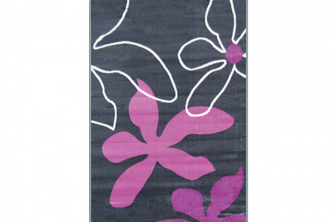 tapis deco gris blanc violet flowers 160x230 cm tapis design pas cher. Black Bedroom Furniture Sets. Home Design Ideas