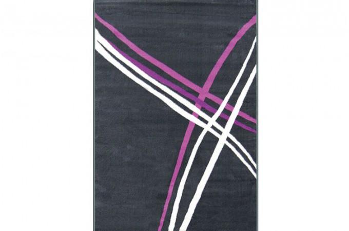 Tapis d co rayures gris blanc violet 120x160 cm tapis - Tapis noir blanc gris ...