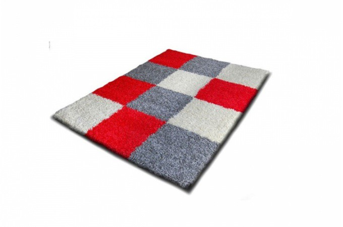 tapis poils shaggy mosaique gris blanc rouge 160 x 230 cm. Black Bedroom Furniture Sets. Home Design Ideas