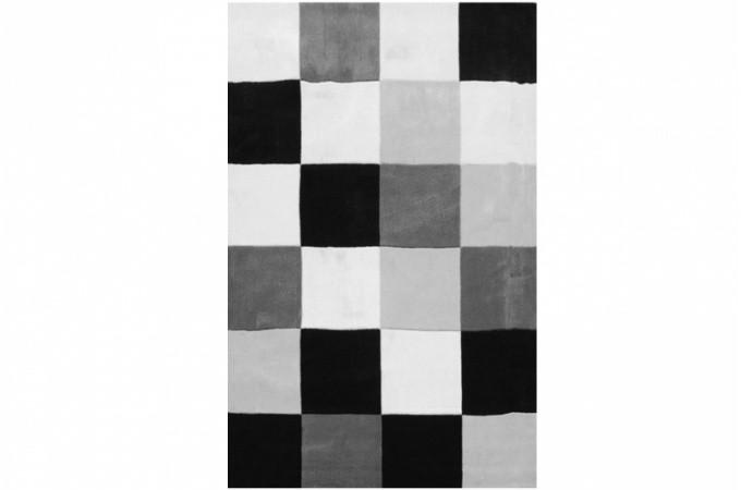 tapis rectangulaire carr s multicolore noir et blanc 160 x. Black Bedroom Furniture Sets. Home Design Ideas