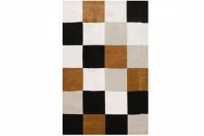 Tapis Rectangulaire Carrés Multicolore Marron, Noir et Beige 120X160 cm, deco design