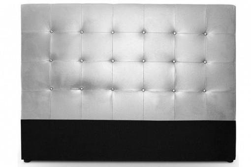 t te de lit capitonn en cuir argent achat t te de lit matelass e pas ch re. Black Bedroom Furniture Sets. Home Design Ideas