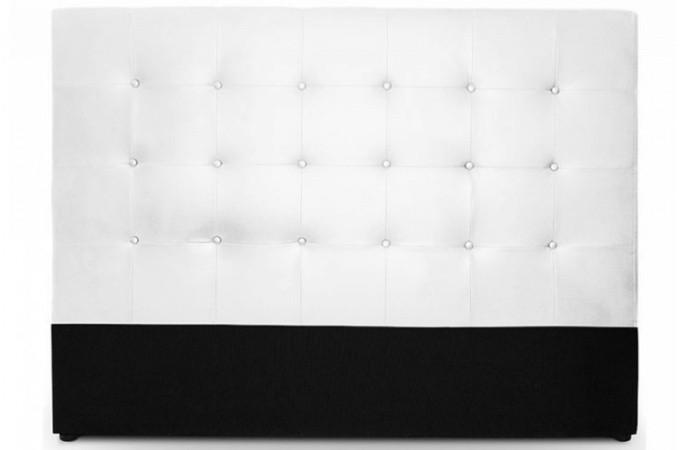 Tête de lit capitonnée en simili cuir blanc  Tête de lit