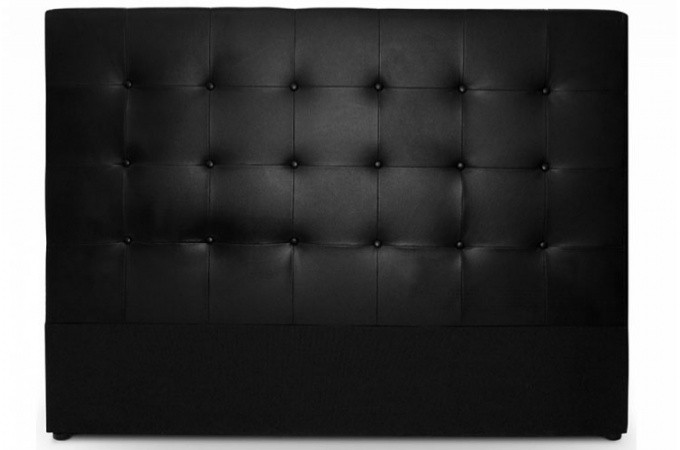t te de lit capitonn 180 cm en cuir noir achat t te de lit matelass e pas ch re. Black Bedroom Furniture Sets. Home Design Ideas