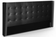 Tête de Lit Tête de lit capitonnée à rabat en simili cuir noire 180 cm Léa, deco design