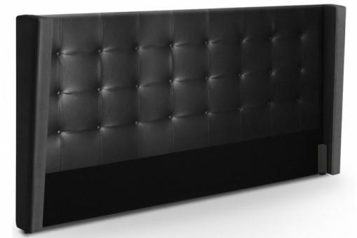 T te de lit capitonn e rabat en simili cuir noire 180 cm l a t te de lit pas cher - Tete de lit 180 cm design ...
