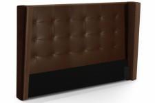Tête de Lit Tête de lit capitonnée à rabat marron en simili cuir 140 cm Léa, deco design