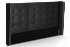 Tête de Lit Tête de lit capitonnée à rabat noire en simili cuir 160 cm Léa, deco design