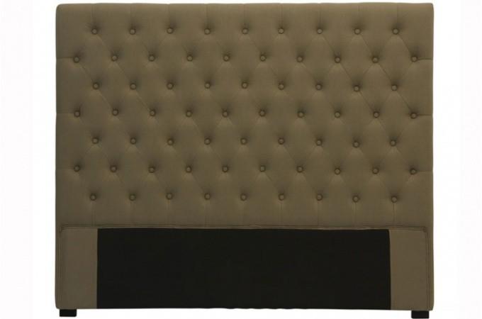 t te de lit capitonn e en lin taupe 160 cm t tes de lit. Black Bedroom Furniture Sets. Home Design Ideas