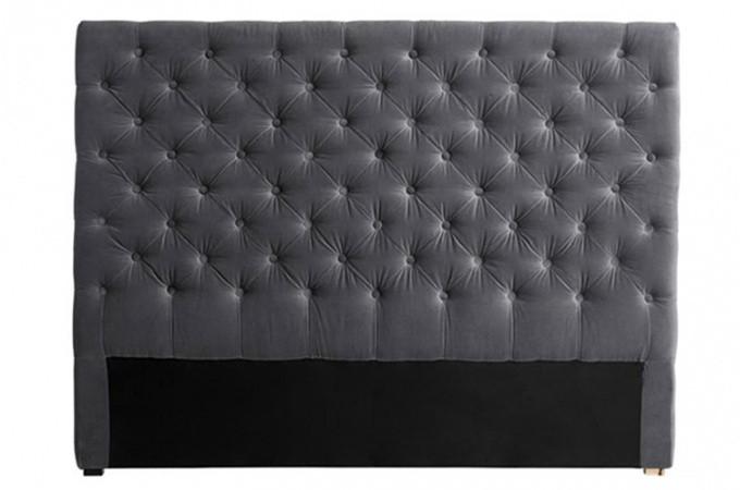 t te de lit capitonn e velours gris 180 cm declikdeco. Black Bedroom Furniture Sets. Home Design Ideas