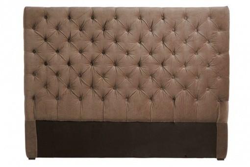 t te de lit capitonn e velours taupe 160 cm t tes de lit. Black Bedroom Furniture Sets. Home Design Ideas