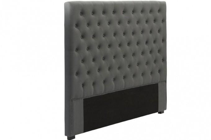 t te de lit capitonn e en lin anthracite 140 cm t tes de lit capitonn es pas cher. Black Bedroom Furniture Sets. Home Design Ideas