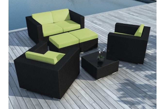 Salon de jardin en résine tressée vert - Salon de Jardin Pas Cher