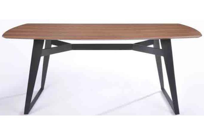 Table en bois h v a sensa 180cm plateau noyer clair et for Table noyer 6 pieds