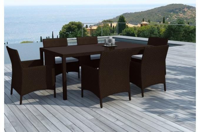 table et chaises 6 places r sine tress e chocolat salon de jardin pas cher. Black Bedroom Furniture Sets. Home Design Ideas