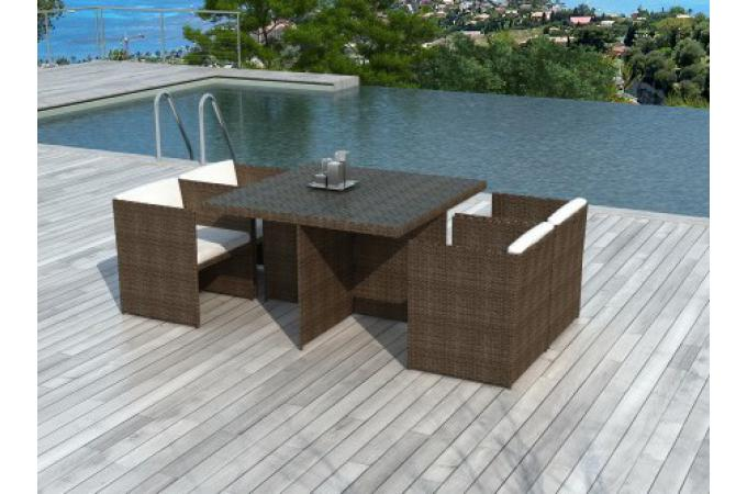 table et chaises de jardin r sine tress e chocolat salon. Black Bedroom Furniture Sets. Home Design Ideas