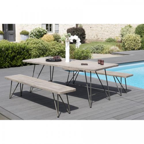 Ensemble Table Scandinave + 2 bancs scandinaves en Teck teinté - Jardin meuble deco