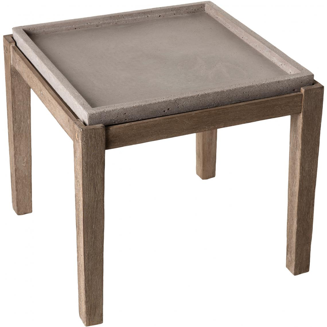 Table Basse Carree Plateau En Beton 53x53cm Pieds En Acacia