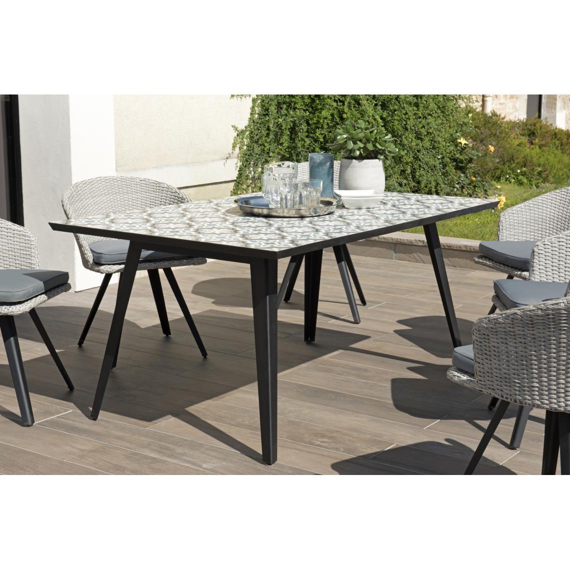 Salon De Jardin Carreau De Ciment table rectangulaire plateau carreaux de ciment 162x102cm