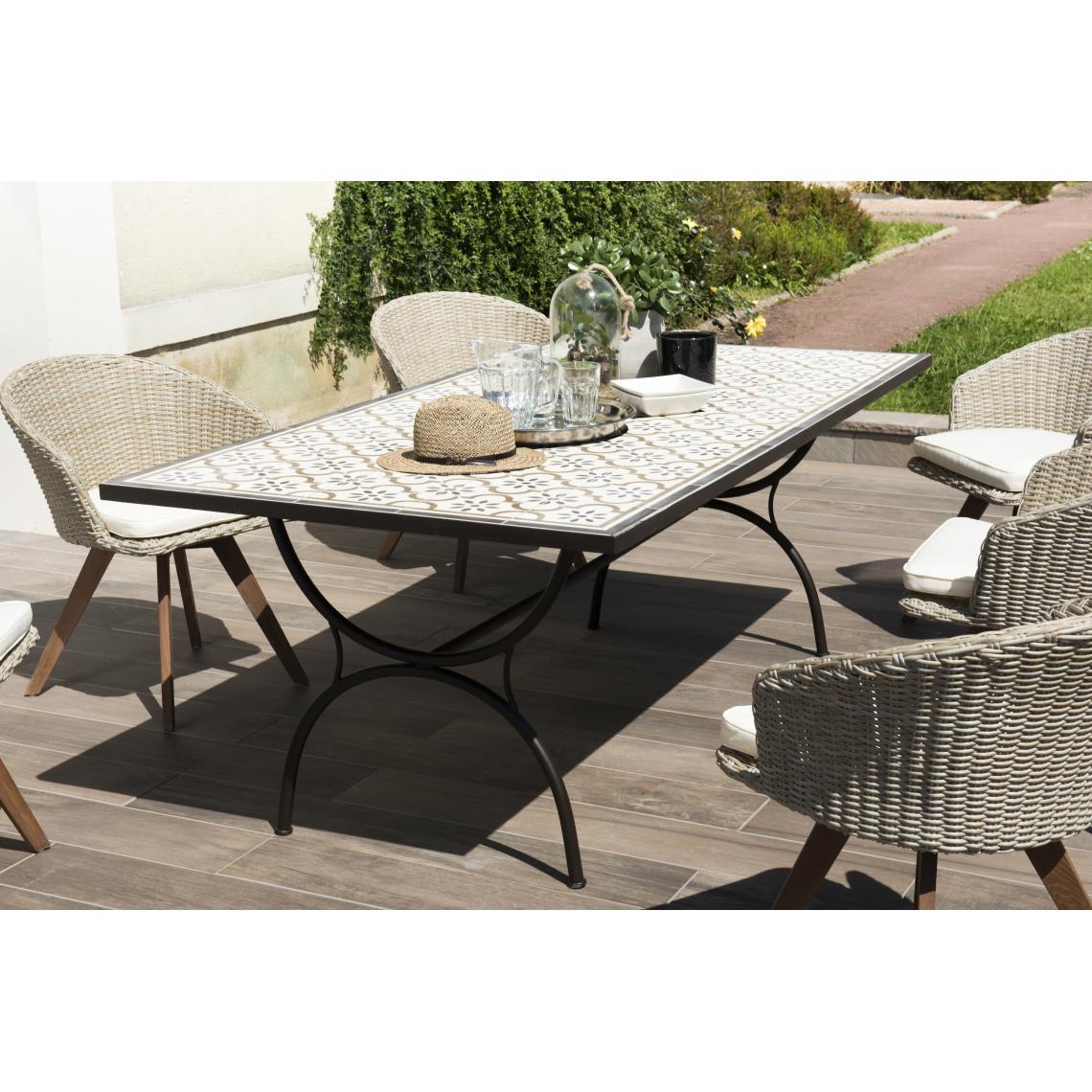 Salon De Jardin Carreau De Ciment table rectangulaire plateau carreaux de ciment 203x102cm