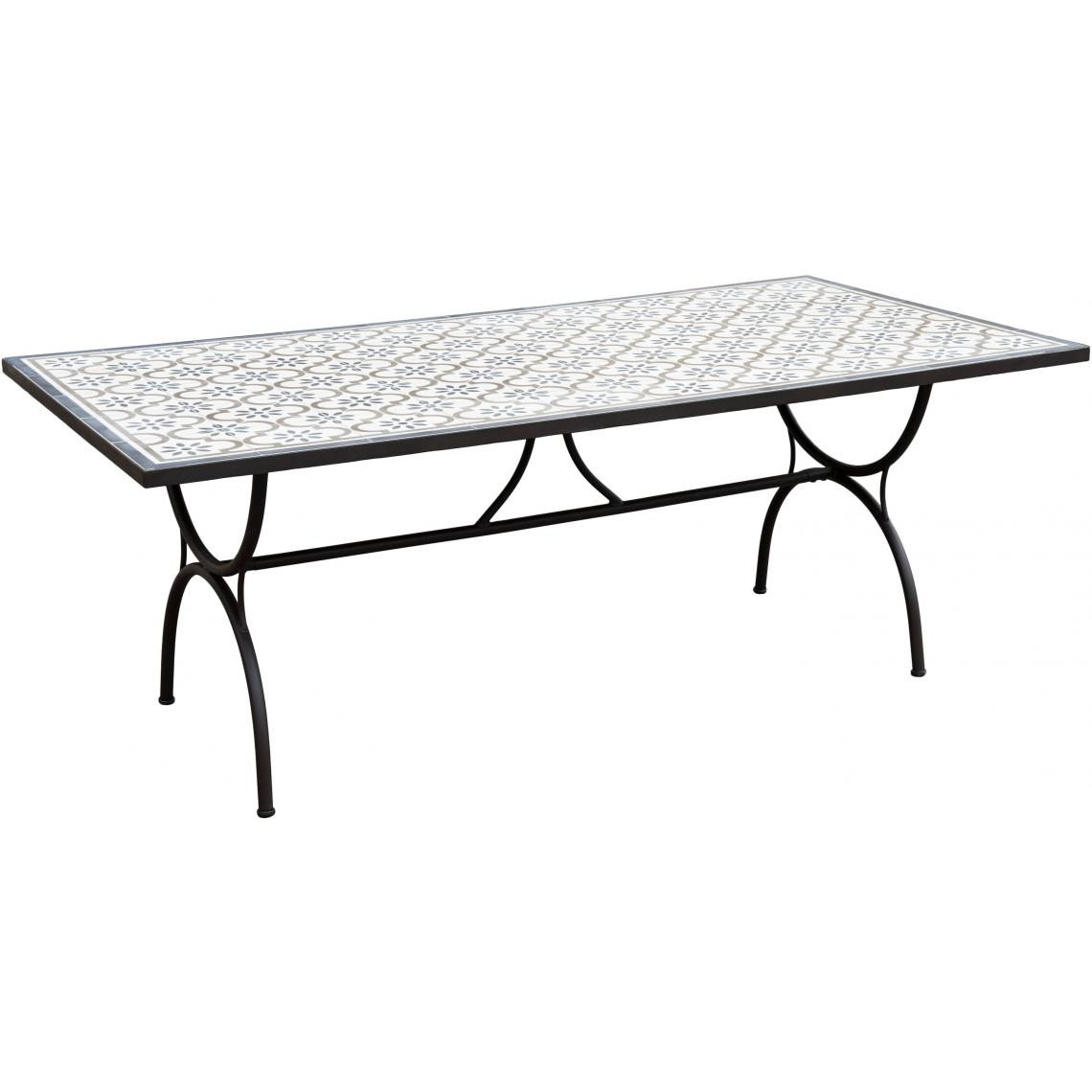 Salon De Jardin Carreau De Ciment table rectangulaire plateau carreaux de ciment 203x102cm - pieds métal plus  d'infos