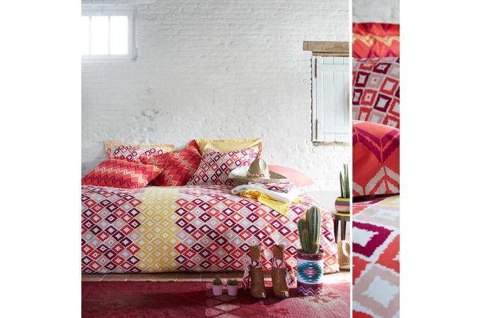 Housse de couette rouge coton imprim 220x240 cm boukhara for Housse de couette 220x240 coton pas cher
