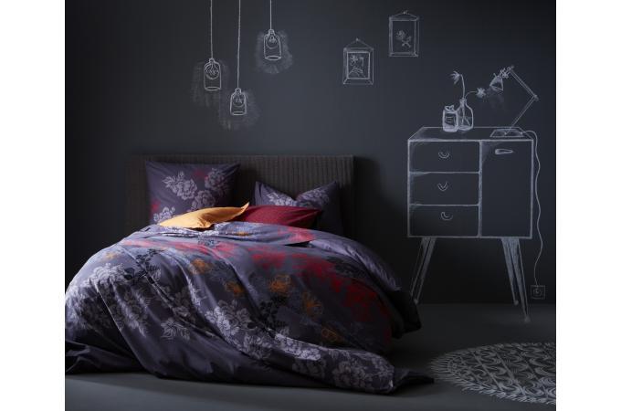 parure de lit mauve midnight 200x200 cm et deux taies d 39 oreiller 65x65 cm housse de couette et. Black Bedroom Furniture Sets. Home Design Ideas