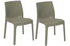 Chaise Design Lot de 2 Chaises Empilable Gris Perle Brillant Milady, deco design