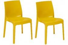 Chaise Design Lot de 2 Chaises Empilable Jaune Brillant Milady, deco design