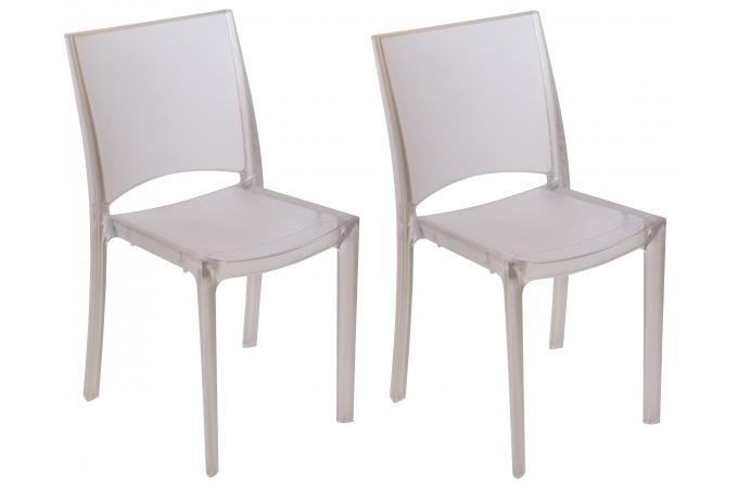 Lot de 2 chaises transparentes grises claires fum es nilo for Soldes chaises transparentes