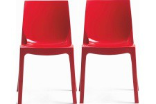 Chaise Design Lot de 2 Chaises Rouges Laquées Victory , deco design