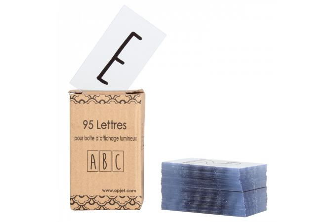 alphabet pour boite lumineuse 95 lettres et symboles noir. Black Bedroom Furniture Sets. Home Design Ideas