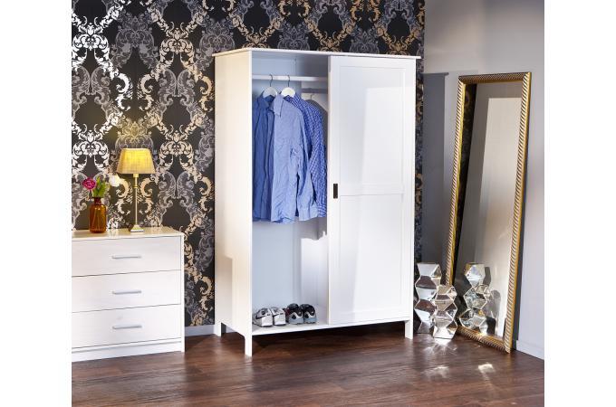 armoire 2 portes coulissantes blanche paulien - meuble de