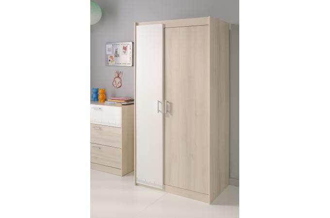 armoire 2 portes pour chambre enfant acacia clair nolan. Black Bedroom Furniture Sets. Home Design Ideas