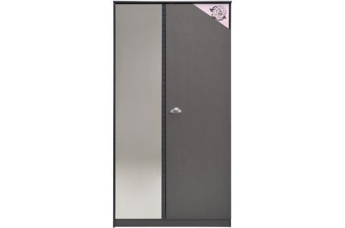 armoire 2 portes pour chambre enfant anthracite et rose elena commode enfant pas cher. Black Bedroom Furniture Sets. Home Design Ideas