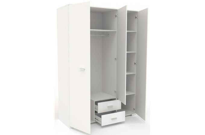 Armoire 3 Portes 2 Tiroirs Blanc Nirvana Meuble Bibliotheque Pas Cher