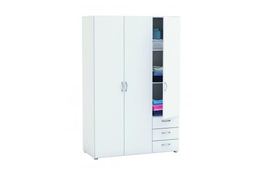 Armoire 3 Portes 3 Tiroirs Blanche HIVER