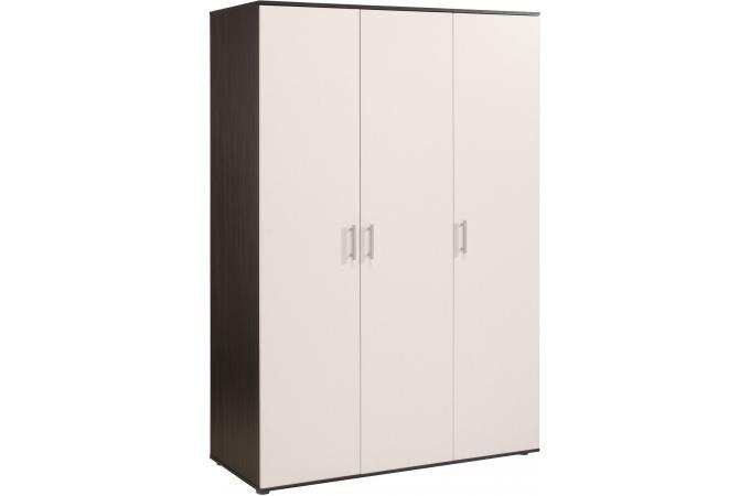 Armoire 3 portes blanche et marron marvyn meuble de rangement pas cher - Armoire 3 portes blanche ...