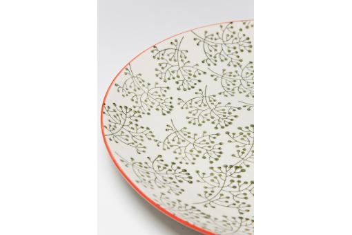 Assiette KARE DESIGN EN Porcelaine Bords Rouges Impressions Florales Vertes D25 FERANDINE