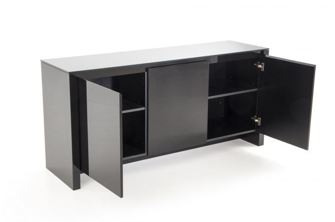 Bahut 3 portes Laqué/Verre Noir EDINBURG - Buffet Pas Cher