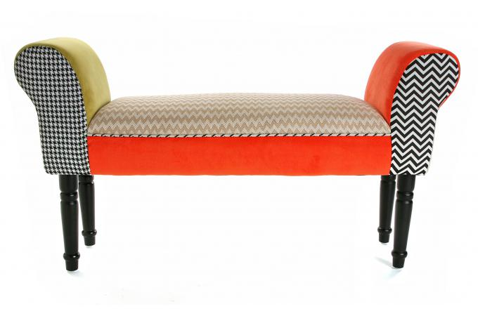 banc bout de lit en tissu patchwork 100cm ally banquette. Black Bedroom Furniture Sets. Home Design Ideas