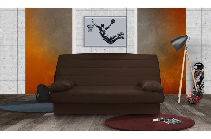 banquette clic clac 3 places mousse haute r silience chocolat noemie canap convertible pas cher. Black Bedroom Furniture Sets. Home Design Ideas