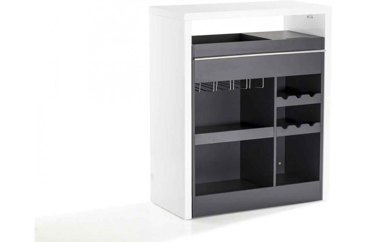 Objet Deco Laque Blanc bar laqué blanc et gris night - table de bar pas cher