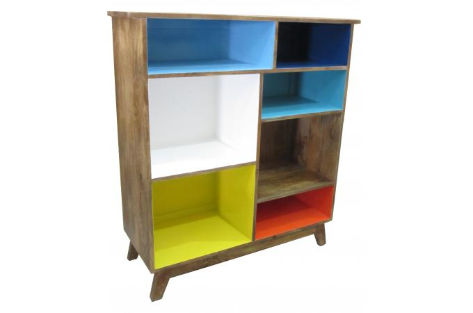 biblioth que 7 tag res en bois multicolore h115 arilla meuble biblioth que pas cher. Black Bedroom Furniture Sets. Home Design Ideas