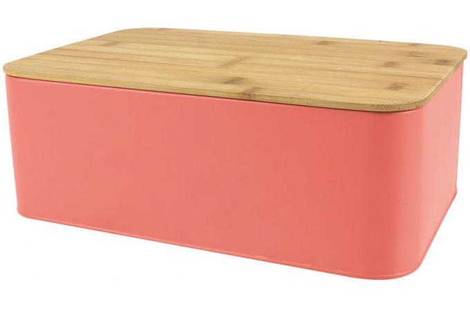 boite a pain avec couvercle en bambou coloris rose l31cm. Black Bedroom Furniture Sets. Home Design Ideas