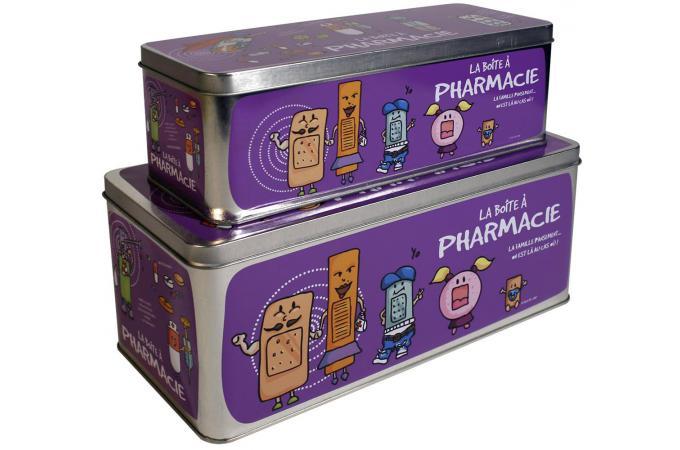 Lot de 2 Boites A Pharmacie Violettes - Boîte de Rangement Pas Cher