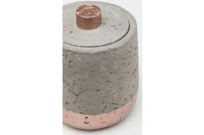 Bo te de rangement kare design en b ton et cuivre concrete for Accessoire salle de bain cuivre