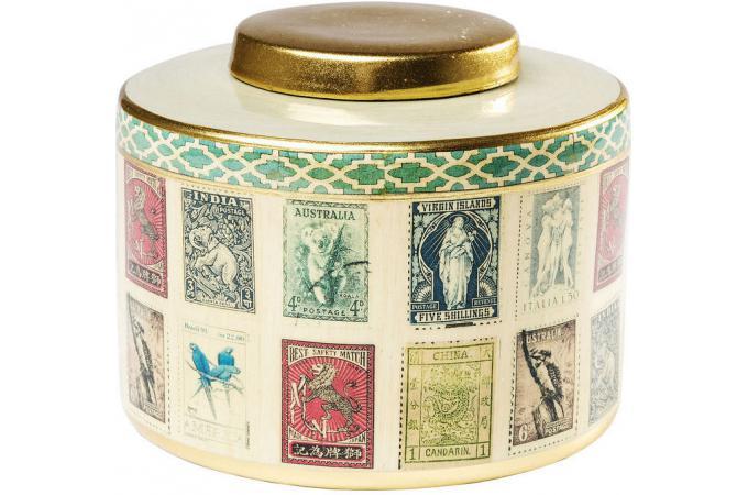 bo te de rangement kare design vintage en m tal imprim timbres 17cm vintage stamps bo te de. Black Bedroom Furniture Sets. Home Design Ideas