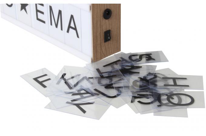 boite lumineuse blanche d corative en bois 95 lettres message lampe poser pas cher. Black Bedroom Furniture Sets. Home Design Ideas
