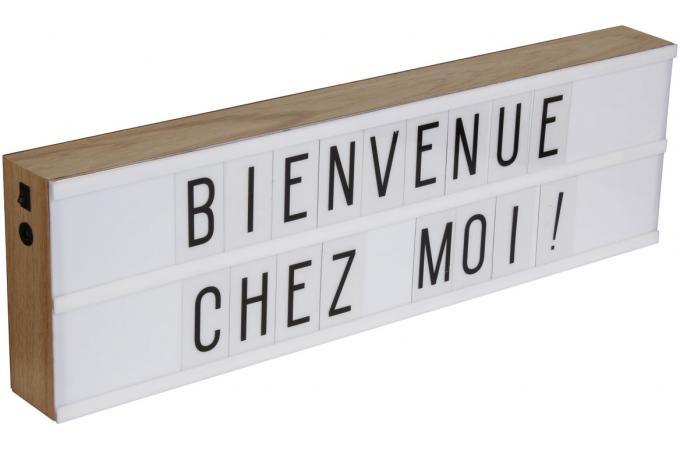 boite lumineuse 2 lignes d corative en bois 130 lettres message lampe poser pas cher. Black Bedroom Furniture Sets. Home Design Ideas